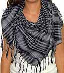 Plaid Check Hombre Scarf Black and Grey