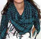 Plaid Check Hombre Scarf Black and Green