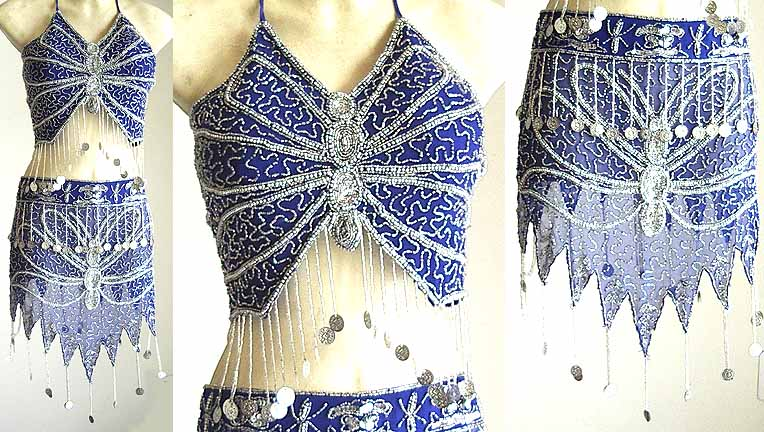 Silver Embroidery Belly Dancing Costume Blue Dress AS