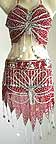 Maroon Belly Dancer Costume Dress AS with Silver Embroidery bc