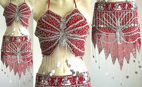 Ballroom Dancing Dress Red AS with Silver Embroidery