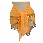 Mustard 2 Line Bellydancer Hip Scarf with Beads and Coins -bc