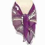 Purple Belly Dancer Hip Scarf 4 Lines Beads and Coins -bc