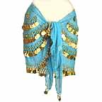 Turqoise Belly Dancing Hip Scarf 4 Circular Line GOLD Coins bc