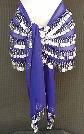 Blue Belly Dance Hip Scarf 5 Line with Beads and Coins
