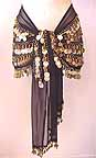 Belly Dance Black Wrap 5 Line with Beads and GOLD Coins -bc