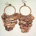 D1J Belly Dancer Copper Coin Earrings