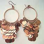 D1M Bellydance Copper Disc Earrings