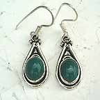 D1R Green Bead Silver Earings