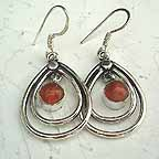 D1V Deep Red Silver Earings