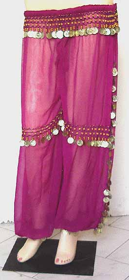 Gold Coin Fuschia Harem Pant Belly Dancing b