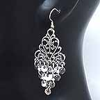 Belly dancing Silver Coin Dangler Earrings AA