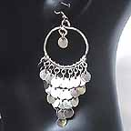 Belly dancing Silver Coin Dangler Earrings AB