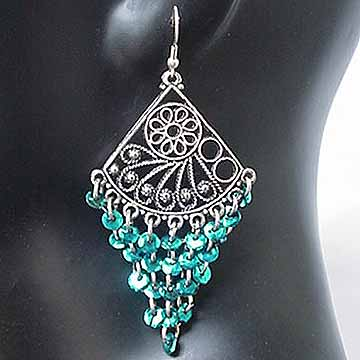 Belly dancing Turqoise Coin Dangler Earrings AD