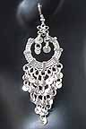 Belly dancing Silver Coin Dangler Earrings AE