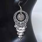 Belly dancing Silver Coin Dangler Earrings AI
