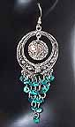 Belly dancing Turqoise Coin Dangler Earrings AJ