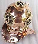 Brass and Copper Diver's Helmet - Mark V US Navy